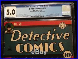 1942 DC Detective Comics #59 CGC 5.0 Off White Pages Batman Robin Penguin