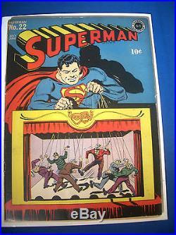 1943 SUPERMAN #22 DC Comics est 5.5 FN- RARE Off WHITE Pages HITLER