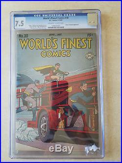 1947 DC COMICS #30 WORLD'S FINEST COMICS Batman Robin Superman CGC 7.5