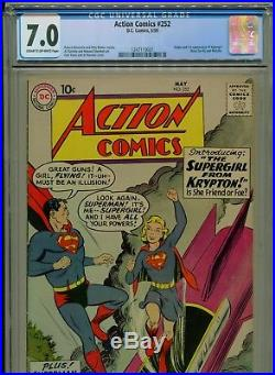 1959 DC Action Comics #252 1st Appearance & Origin Of Supergirl Cgc 7.0 Cr-ow