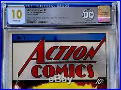ACTION COMICS #1 CGC 10.0 GEM MT SILVER FOIL 35 GRAMS DC SUPERMAN 1st RELEASE DC