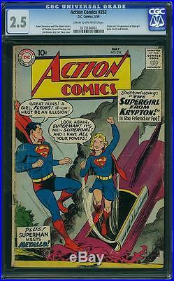 Action Comics #252 Cgc 2.5 Origin 1st Supergirl (kara Zore) 1959 Undergraded Gem