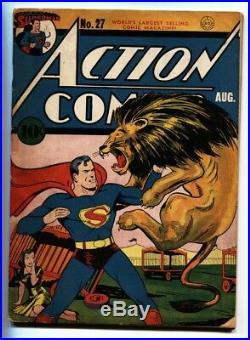 ACTION COMICS #27-Lion cover-SUPERMAN-DC GOLDEN-AGE-1940