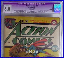 ACTION COMICS #59 CGC 6.0 SUPERMAN 1943 1st App Susie Tompkins & Hitler cameo