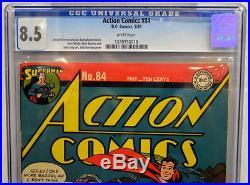 ACTION COMICS #84 CGC 8.5 Superman 1945 Classic Cover 3rd Highest Graded copy