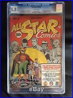 ALL STAR COMICS #7 CGC FN- 5.5 OW Batman and Superman 1st team-up