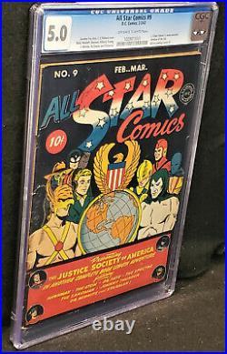 ALL STAR COMICS #9 (DC Feb/Mar 1942) Golden Age CGC 5.0