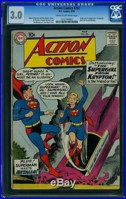 Action #252 CGC 3.0 DC 1959 1st Supergirl! Origin! Superman! JLA! F2 cm