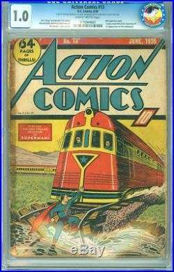 Action Comics 13 CGC 1.0 FR DC 1939 4th Superman Cover Scarce! Superman 1 Ad