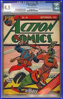 Action Comics #16 Very Nice Unrestored Early Superman Golden Age DC 1939 CGC 4.5