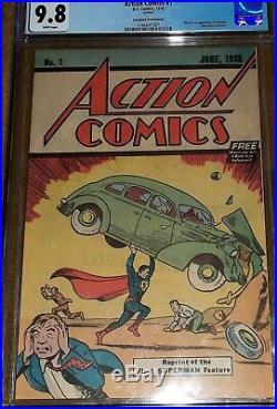 Action Comics 1 comic CGC 9.8 Safeguard Signed Jerry Siegel comic superman #1