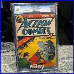 Action Comics 20 CGC. 5 Classic S Left Off Superman Chest