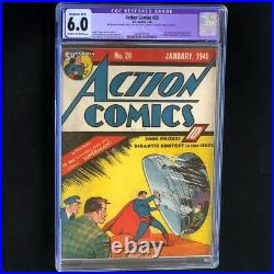Action Comics #20 (DC 1940) CGC 6.0 Restored Ultra-Humanite App! Superman