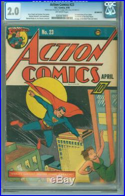 Action Comics 23 CGC 2.0 GD Inc. DC 1940 1st Appearance Lex Luthor Daily Planet