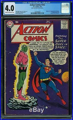 Action Comics #242 CGC 4.0 DC 1958 1st Brainiac! Kandor! Superman! F9 135 cm