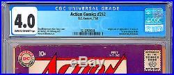 Action Comics #242 Cgc 4.0 Origin & 1st Brainiac Shrunken City Of Kandor 1958