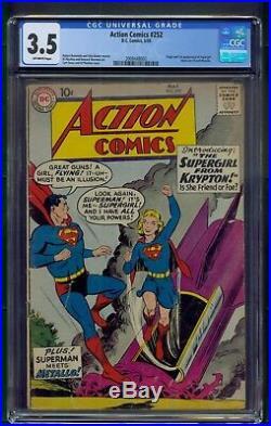 Action Comics #252 (1959) CGC Graded 3.5 Origin & 1st Appearance Supergirl