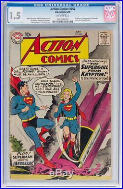 Action Comics #252 CGC 1.5 DC 1959 1st Supergirl! Key Book! Superman! H11 263 cm