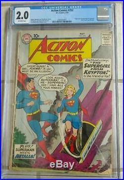Action Comics #252 CGC 2.0 DC 1959 1st Supergirl! Key Book! Superman! K12 201 cm