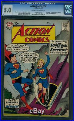 Action Comics #252 CGC 5.0 DC 1959 1st Supergirl! Superman! H12 112 cm cr