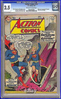 Action Comics #252 Nice OWithW Pages Origin & 1st App. Supergirl DC 1959 CGC 2.5