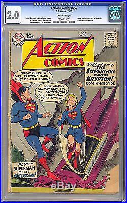Action Comics #252 Nice Unrestored Origin & 1st App. Supergirl DC 1959 CGC 2.0
