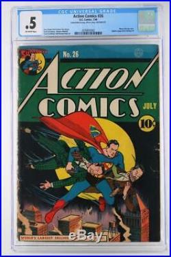 Action Comics #26 CGC 0.5 PR DC 1940 Superman Wayne Boring Cover