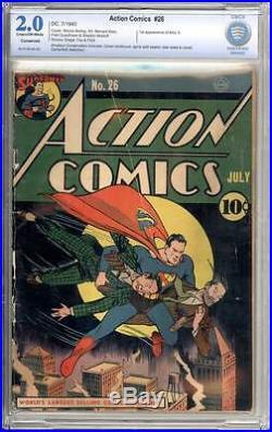 Action Comics # 26 Great Superman cover! CBCS 2.0 rare Golden Age book