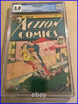 Action Comics #29 CGC 3.0 DC 1940 1st Lois Lane Cover! Superman! K4 367 cm