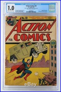 Action Comics #33 CGC 1.0 FR DC 1941 Superman! ORIGIN Mr. America
