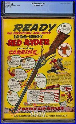 Action Comics #34. CGC 7.0 FVF. Sharp 1941 Superman