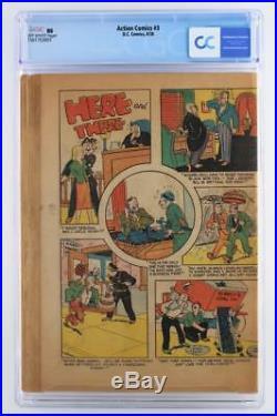 Action Comics #3 CGC NG -Coverless- DC 1938 3rd App of Superman