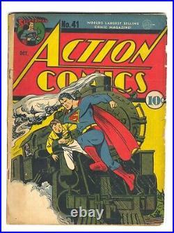 Action Comics 41 VG- classic Superman train cover 1941