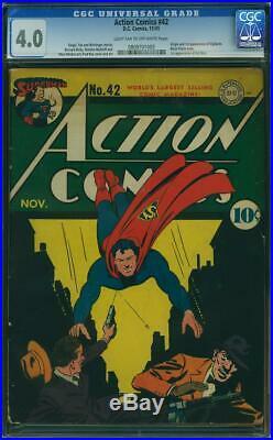 Action Comics #42 CGC 4.0 DC 1941 1st Vigilante! Key Golden! Superman! K7 cm fix