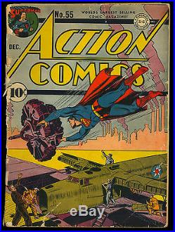 Action Comics #55 Unrestored Superman WWII War Cover Golden Age DC 1942 FR-GD