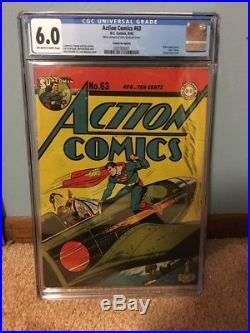 Action Comics # 63 Cgc 6.0 Cosmic Aéroplane Pedigree-rare