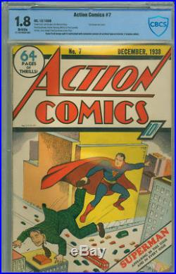 Action Comics 7 CBCS 1.8 G- DC 1938 2nd Superman Cover Scarce