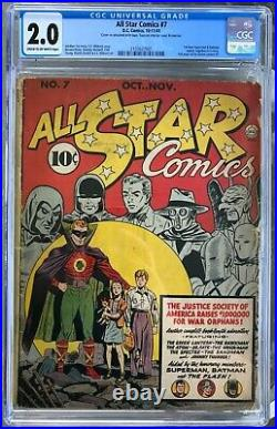 All Star Comics #7 (1941) CGC 2.0 - 1st Superman & Batman Team-Up Ad for GL #1