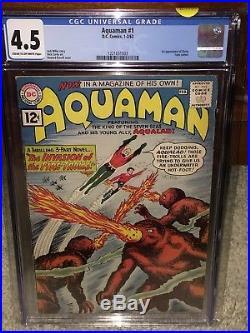 Aquaman #1 CGC 4.5 DC 1962 1st Quisp! JLA! Superman! Batman! G11 123 cm cr