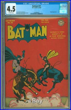 Batman 21 CGC 4.5 VG+ DC 1944 OW Penguin Appearance Original Owner