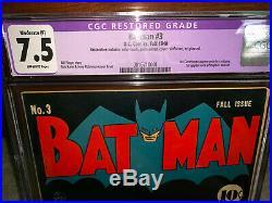 Batman #3 CGC 7.5 (R) DC 1940 1st Puppet Master! JLA! Superman! K10 1 cm