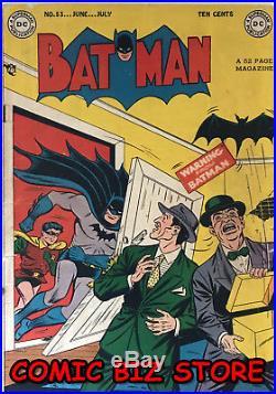 Batman #53 (1949) DC Golden Age 1st Printing Vg- 3.0 Joker-s Jerome Wenker Coa