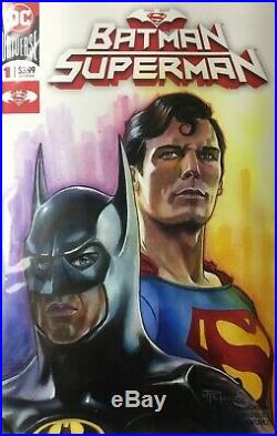 Batman/Superman Painted Original Art Sketch Cover Variant Comic Book #1