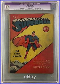 Cgc 3.0 Superman #2 Golden Age Fall 1939 Original DC Comic Book