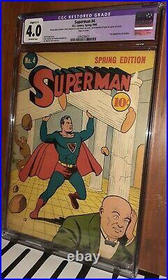 CGC 4.0 Superman 4 Slight Restoration. 1940 D. C. Second Appearance of Lex Luthor
