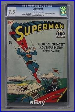 CGC Graded 7.5 1940 SUPERMAN No 7 Golden Age D. C. Comic Book, 1st Perry White