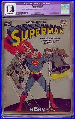 DC Comics SUPERMAN #26 CGC 1.8 (R) Feb 1944 Classic Goebbels WWII cover