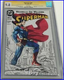 DC Superman #204 B&W Sketch Signed Jim Lee / Colored by Alex Sinclair CGC 9.8 SS