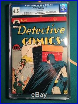 Detective Comics 44 D. C. 1940 Cgc 4.5 Crimson Avenger Gorgeous Early Batman