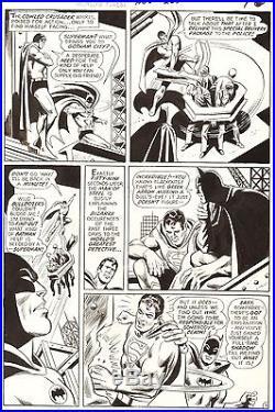 DICK DILLIN SUPERMAN & BATMAN World's Finest #207 Original DC Comic Art 1971